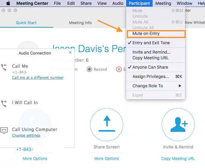 How do I mute all participants on join for WebEx Meeting Center
